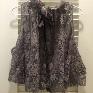 Free People sheer lacy blouse with bow